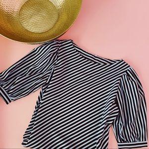 Vtg 80s Blue Black Striped Blouse S M